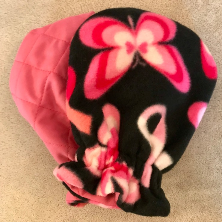 Butterflies & Ribbons Fleece . Pink Quilted 10